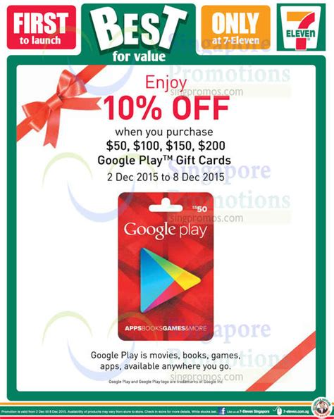 Google Play Store Gift Card Singapore - google play gift cards 10 off promo 7 eleven 2 8 dec 2015