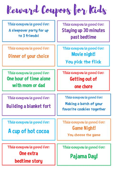 printable incentive tickets printable reward coupons for kids