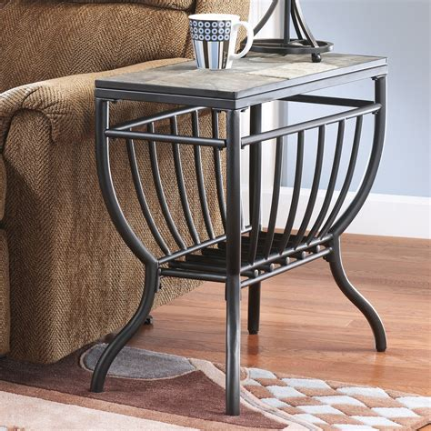 signature design  ashley antigo gunmetal chair side  table  tables  hayneedle