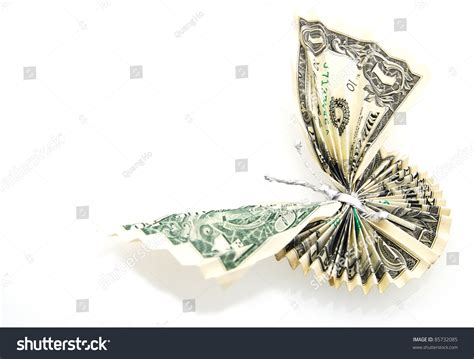 a concept of successful butterfly in money origami stock