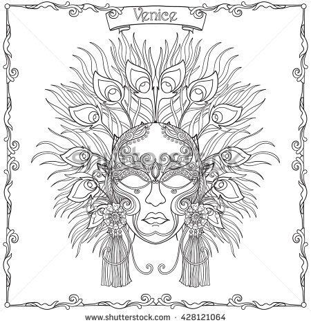 venetian masks coloring book for adults venetian mask carnival costume outline draw