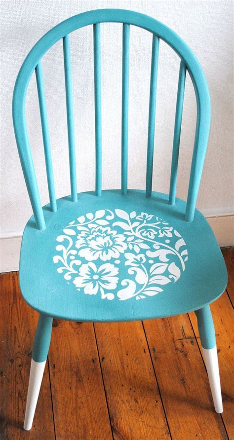 painted chair ideas turquoise chalk paint chair with stencil design
