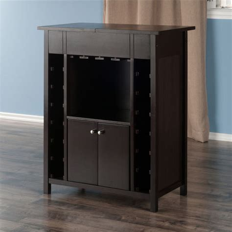 winsome yukon wine cabinet with expandable top espresso yukon 14 bottle wine cabinet in espresso finish by winsome