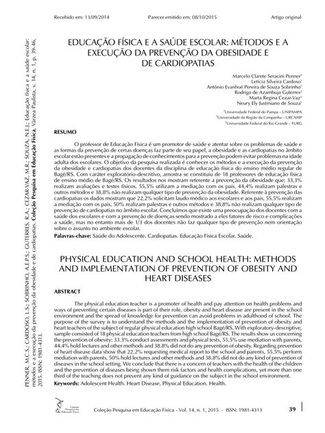 (PDF) EDUCAÇÃO FÍSICA E A SAÚDE ESCOLAR: MÉTODOS E A