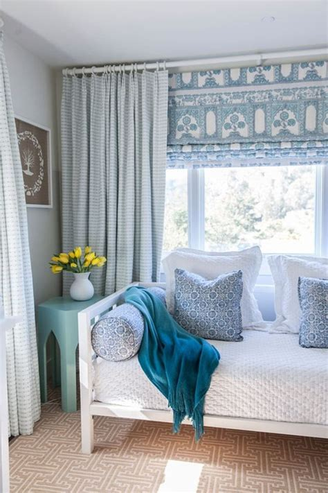 curtains with roman shades pairing patterned roman shades with curtains more window