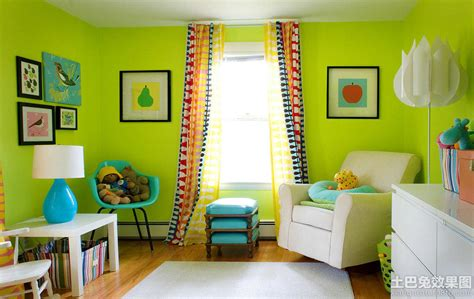lime green and white themed kids room paint ideas with 内墙面漆效果图 土巴兔装修效果图