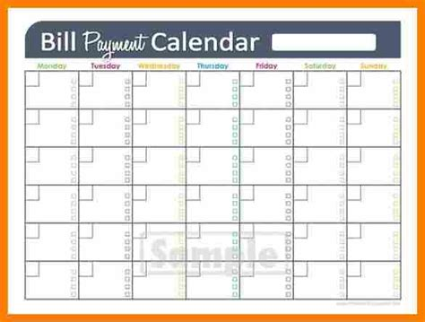bill calendar template bill calendar monthly bill pay calendar template