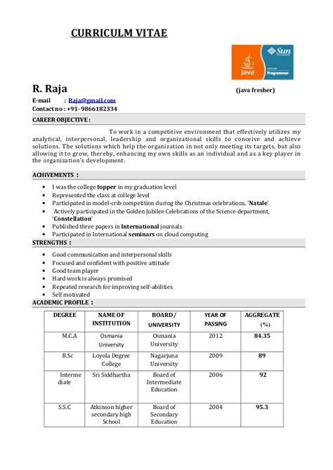 java resume format for freshers fresher resume