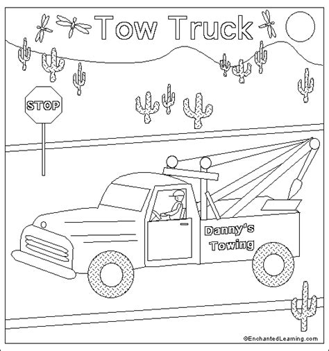 tow truck coloring page printout tow truck coloring page printout enchantedlearning com