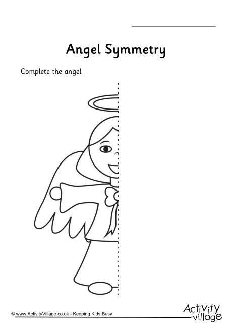 christmas pattern worksheets ks1 angel symmetry worksheet