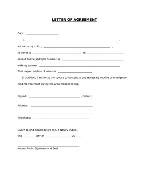 Consent Minor Child Travel Consent Form Permission For Child To Travel With One Parent Template
