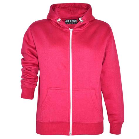 Hoodie Zipper Pimpstar 3 boys unisex plain fleece hoodie zip up style zipper age 5 13 years ebay