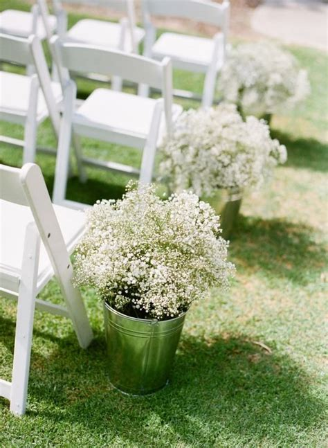 Wedding Aisle Buckets by Ceremony Aisle Lined With Buckets Of Baby S Breath