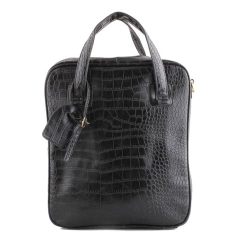 grid pattern handbag mens women casual solid pu leather grid pattern black