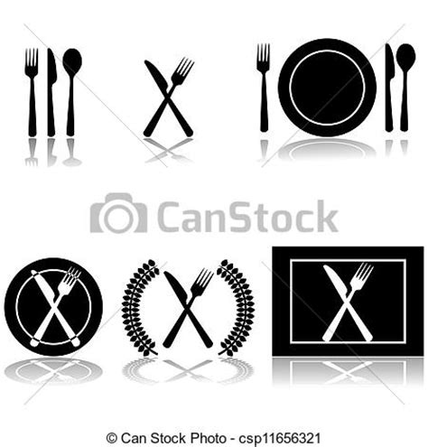 Vector Illustration of Cutlery and plate icons   Icon