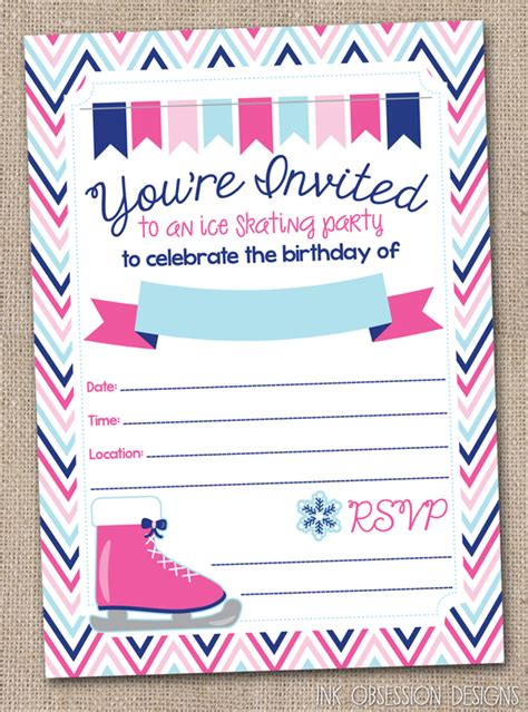 Ink Obsession Designs Ice Skating Birthday Party Invitations Instant Download Pdf Skating Invitation Template Free