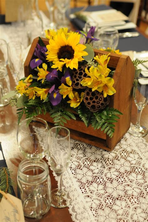 rustic sunflower centerpiece sunflower wedding