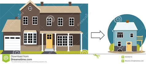 retire big by going small downsizing your home in your golden years debt discipline downsizing stock vector image 63233210