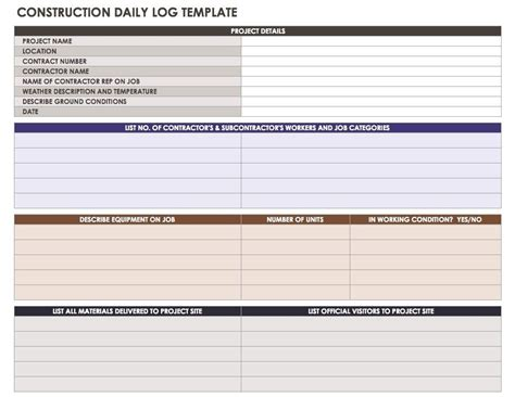 Construction Daily Report Template Format Template124 Construction Daily Log Template