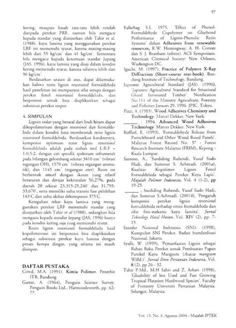 Majalah Ilmu Teknologi Korosi Volume 17 No 2 sintesis dan karakterisasi resin lignin resorsinol formaldehida sebag