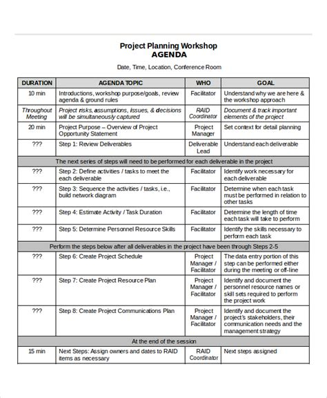 project agenda template 6 free word pdf documents