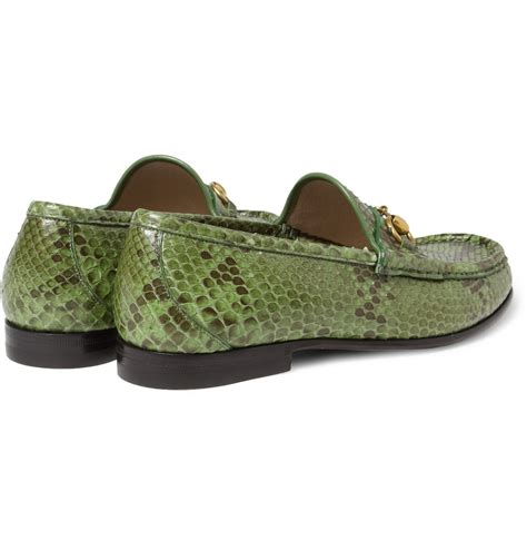green gucci loafers gucci horsebit python loafers in green for lyst