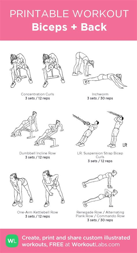 printable exercise workouts biceps back my custom printable workout by workoutlabs