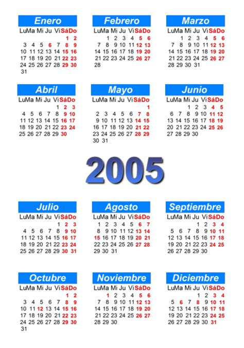 Calendario Agosto 2005 Calendario 2005 Para Imprimir Y Descargar Pdf Abc