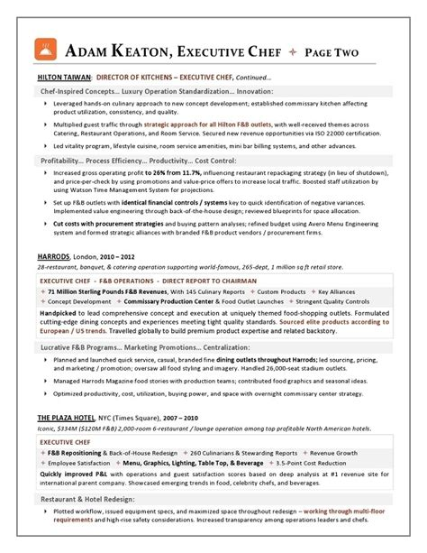 sle executive chef resume 28 images resume exle