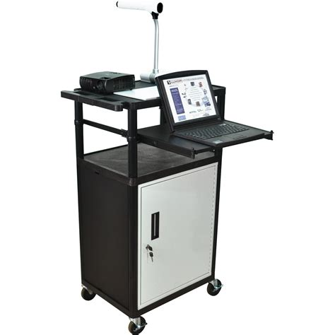 luxor cart with locking cabinet luxor lp45cle b presentation cart with locking cabinet