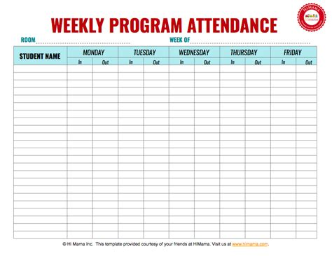 daycare sign in sheet template weekly m f daycare