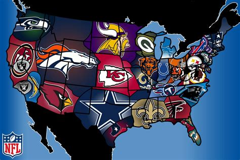 map usa nfl teams american football teams in the united states
