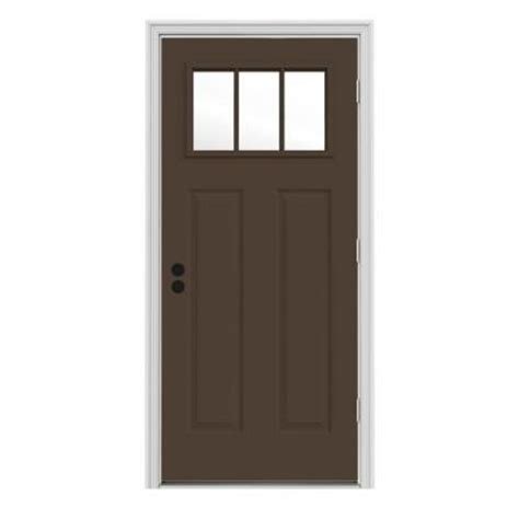 32 X 74 Exterior Door Jeld Wen 32 In X 80 In Craftsman 3 Lite Painted Premium Steel Prehung Front Door With