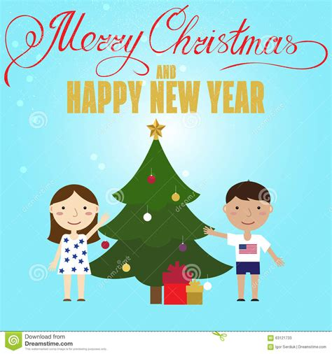 design poster cartoon christmas poster design with children and christmas tree