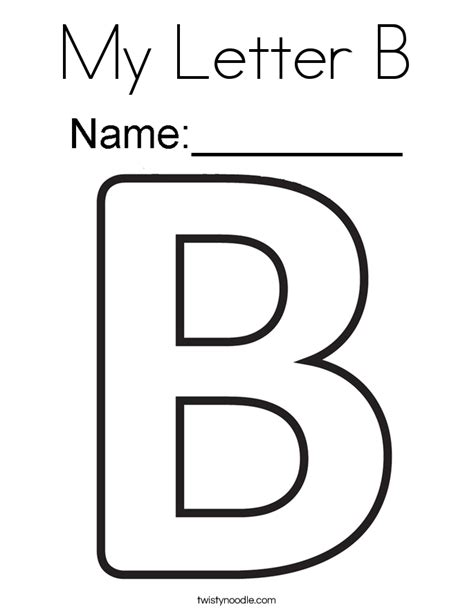 coloring page the letter b my letter b coloring page twisty noodle