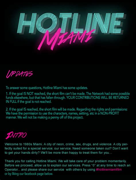 film hotline hotline miami a short film indiegogo