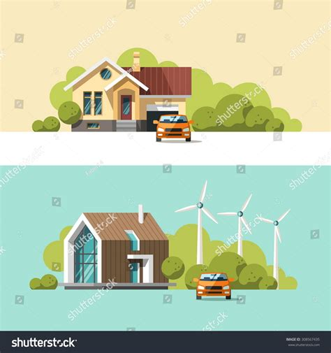 modern home design vector traditional and modern house family home flat design vector concept illustration 308567435