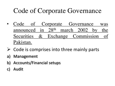 Corporate Governance Mba Notes Pdf by Code Of Corporate Governance