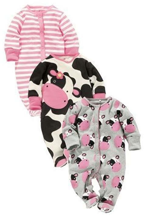 cow character sleepsuits three pack 0mths 2yrs next usa