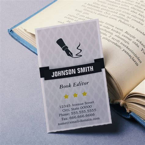 editing business card template in pages book editor editing service pen logo retro style