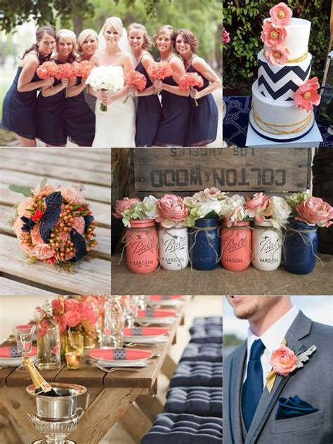 navy blue and coral wedding weddings by color shades of navy blue coral wedding