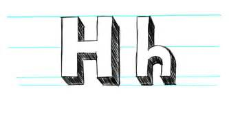 how to draw 3d letters h uppercase h and lowercase h in