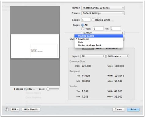 print envelopes from address book mac tricks and tips how to create address labels from osx contacts podfeet