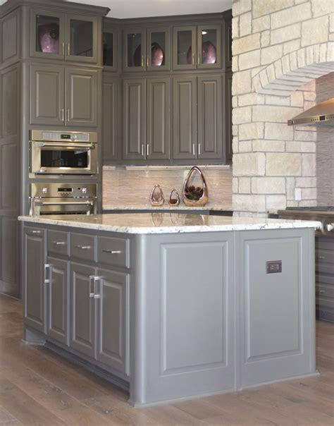 corner kitchen island gray kitchen cabinets burrows cabinets central texas