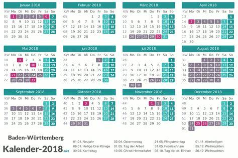 Kalender 2018 Feiertage Ferien Bw Ferien Baden W 252 Rttemberg 2018 Ferienkalender 220 Bersicht