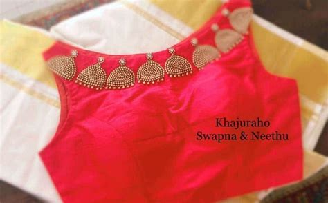 boat neck hand embroidery designs maggam hand embroidery jhumka design boat neck for blouse