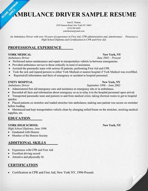 resume template for driver position posts gratisram
