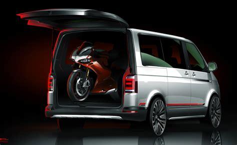 volkswagen multivan vw s multivan panamerica concept is a motorcycle hauler