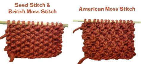 seed stitch knitting seed stitch vs moss stitch is there a difference