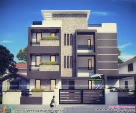 3 floor house plans contemporary three storied residential building kerala home design and floor plans
